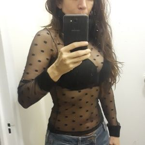 Sweaters - Black sheer dotted top turtleneck sweater Small
